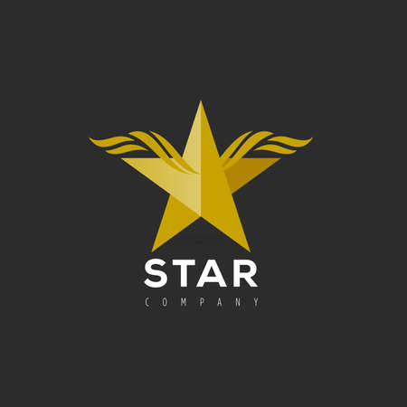 Vector graphic symbol with stylized star with wings 向量圖像