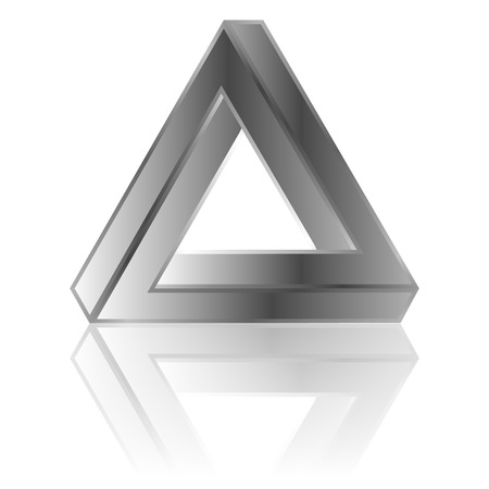 impossible triangle with reflection isolated on white background Illustration