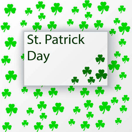 st patrics: Clover leaf seamless pattern on paper texture, background for st Patric`s Day, vector