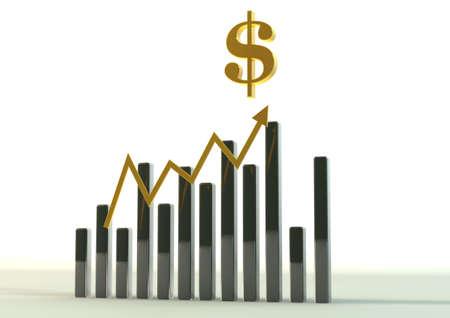 managing money: business chart 3D graphics