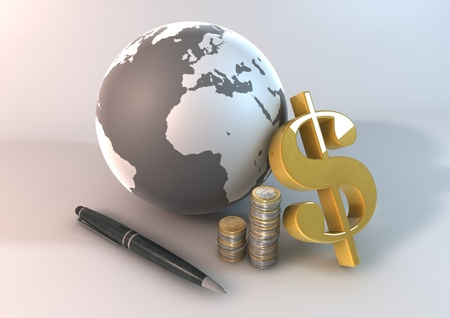 image 3 dimensional graphic render about the financial on the world. photo