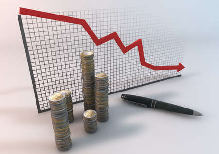 Indicates the financial status of the business downturn  Stock Photo - 17190587
