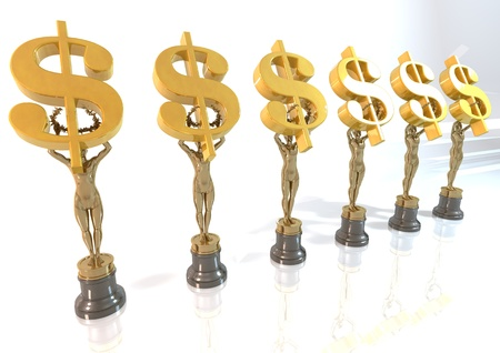 Dollar Award stand on a white background  photo