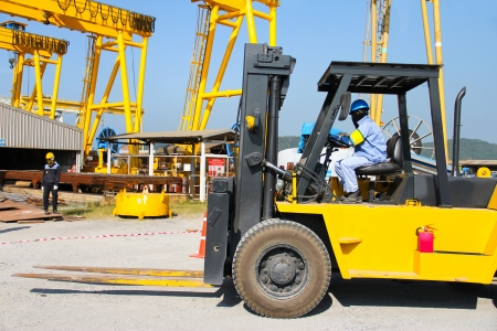 Atmosphere in the construction and forklift  photo