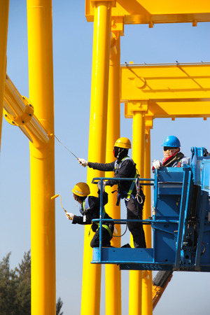 atmosphere construction: Atmosphere in the construction and painted crane  Stock Photo
