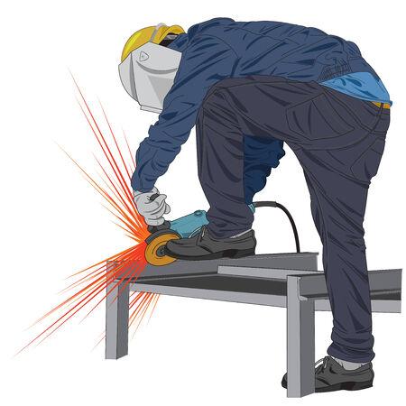 Illustration of worker that working in industrial factories. Vector