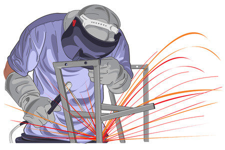 Illustration of worker that working in industrial factories. Vector