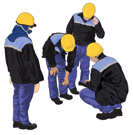 inspector: Illustration of worker that working in industrial factories.