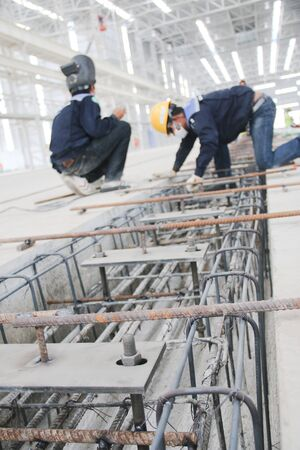 atmosphere construction: Working atmosphere in the construction, installation and safety of crane industrial. Stock Photo