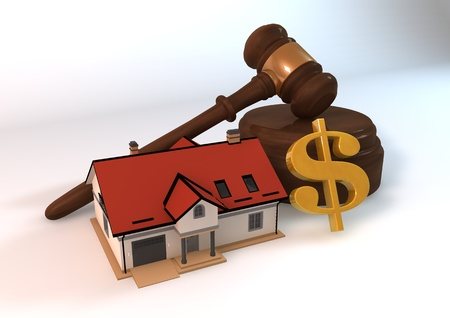 auction: Real estate auction 3d model concept with dollar symbol on white background Stock Photo