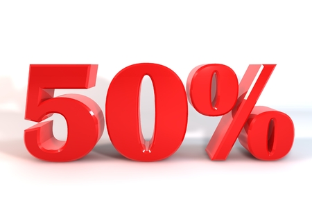 d offer: 3 D graphics to display as red number percent of discounts on a white background. Stock Photo