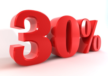 d data: 3 D graphics to display as red number percent of discounts on a white background. Stock Photo