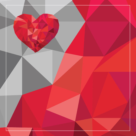 heart tone: Red heart low poly with abstract two tone background