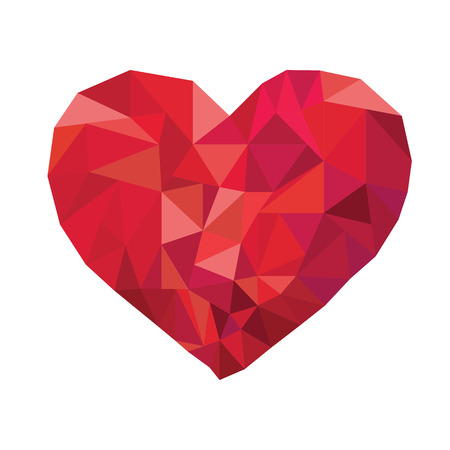 Red heart abstract as low poly on white background Banco de Imagens