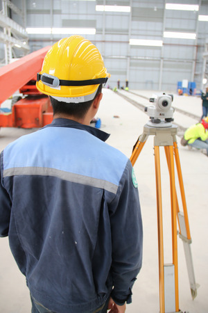 atmosphere construction: Working atmosphere in the construction, installation and safety of lifting crane industrial. Stock Photo