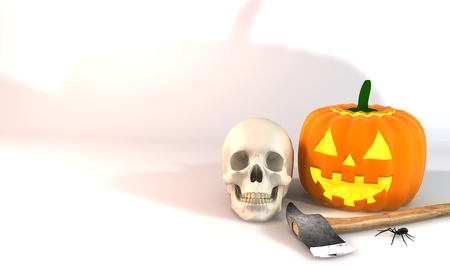 3 dimensions: Illustration 3 dimensional rendering about Halloween festivities on white background.