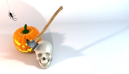 festivities: Illustration 3 dimensional rendering about Halloween festivities on white background.