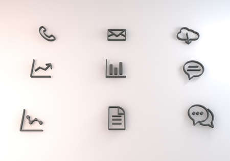 d data: 3d rendering icon concept with outlined icons and linear styles Stock Photo