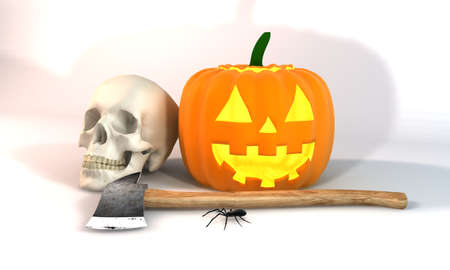 3 d illustration: Illustration 3 dimensional rendering about Halloween festivities on white background.