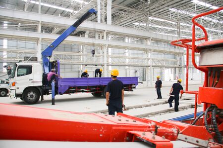 atmosphere construction: Working atmosphere in the construction, installation and safety of lifting crane industrial. Editorial