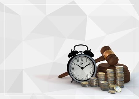 auctioneer: illustration 3 dimensional render about business and financial on white background