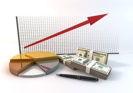 3 d illustration: Rendering 3 Dimensions image on a white background; The idea about of Financial and Investment Business.