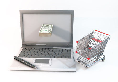protrude: 3D Graphic computer and 100 dollar bills protrude with near shopping cart. Rendered at high resolution on a white background Stock Photo