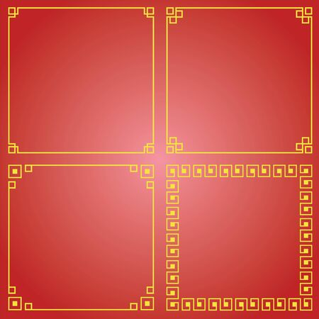 chinese border: multi Chinese border, Chinese decorative frame on red background