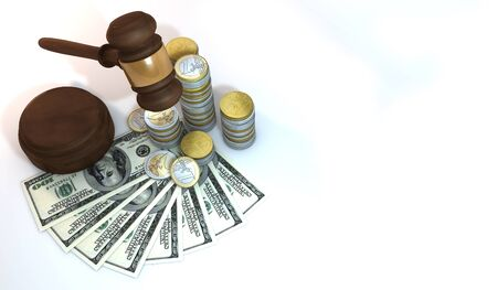 3 dimensional: 3 Dimensional Graphics rendering about financial, wealth, business by auction concept,  still life isolated render at high resolution on a white background Stock Photo