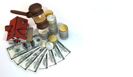 3 dimensional: 3 Dimensional Graphics rendering about financial, wealth, business, property by auction concept,  still life isolated render at high resolution on a white background