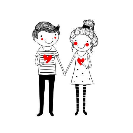 Nette doodle Paar mit Herzen. Standard-Bild - 38349159