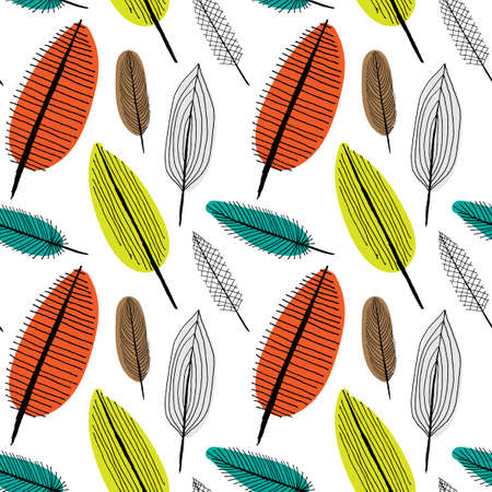 boho: Doodle sketchy textured leaves. Seamless pattern