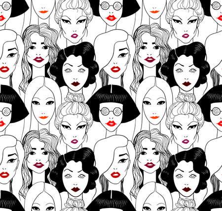 dessin noir et blanc: Femme avec des lèvres rouges. Seamless pattern.