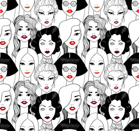 woman in white: Woman with red lips. Seamless pattern.