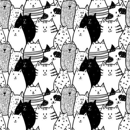 funny: Doodle funny cats. Seamless pattern.