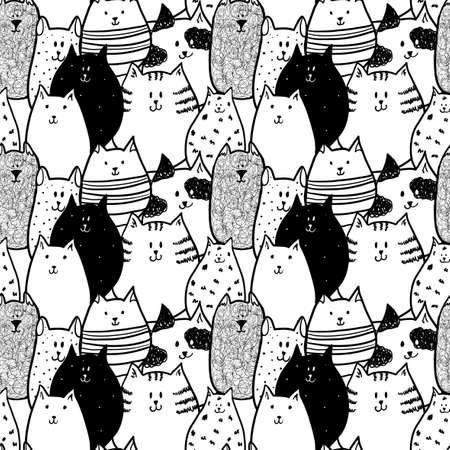 caras graciosas: Doodle gatos divertidos. Patr�n sin fisuras.