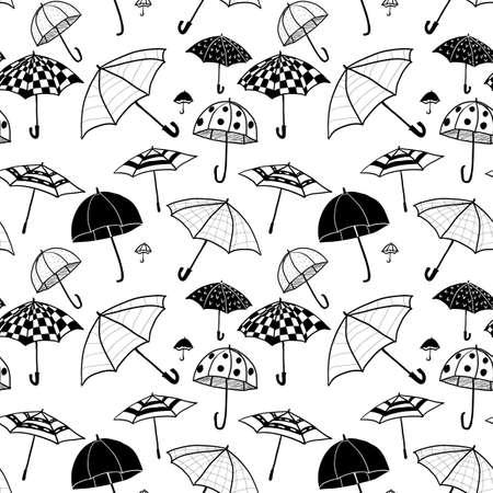 Doodle umbrellas. Seamless pattern. 矢量图像