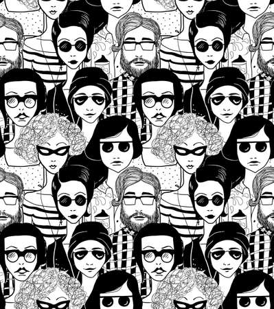 Doodle crowd inn sunglasses. Seamless pattern.