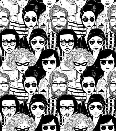 Doodle crowd inn sunglasses. Seamless pattern.
