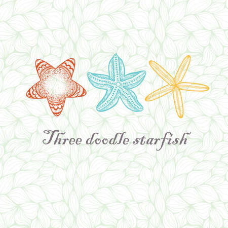 star fish: Three colored doodle textured starfish on wavy background.
