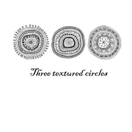 textrured: Three doodle black abstract textrured circles background. Illustration