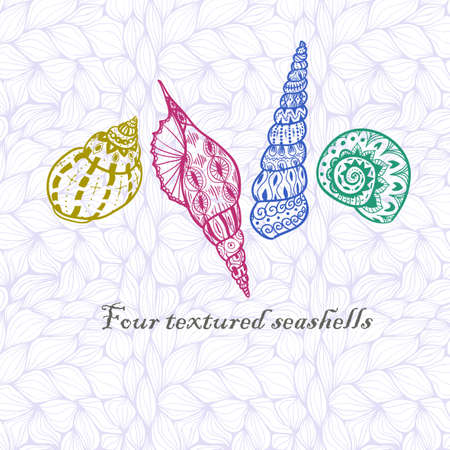 inky: Four doodle colorful textured seashells. Inky style. Illustration