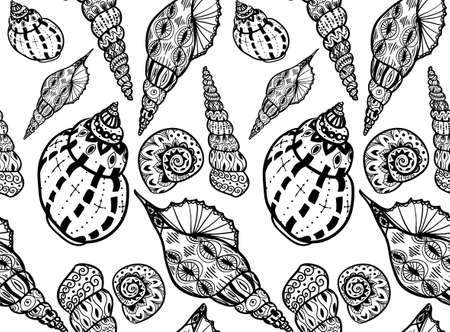 cockleshell: Doodle textured black and white shells seamless pattern. Background.