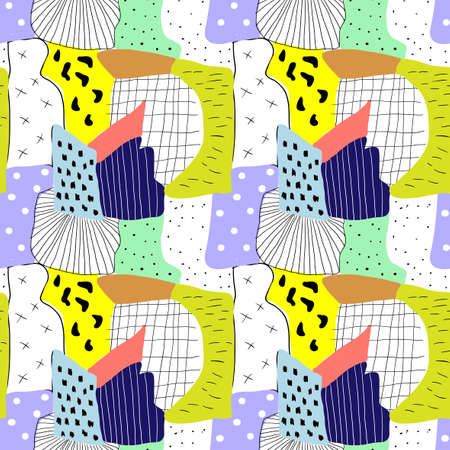 naive: Abstract colorful doodle textured seamless pattern in naive style. Illustration