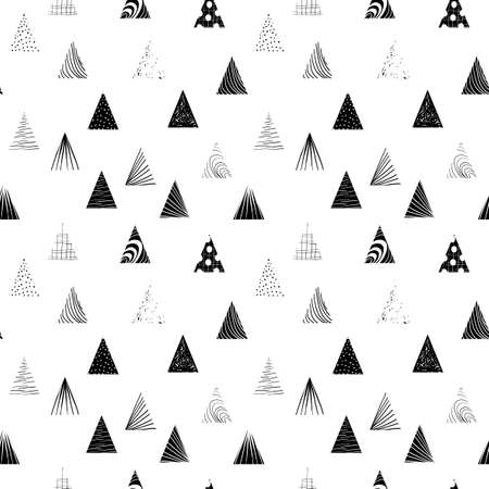Abstract textured black and white  triangles. Seamless pattern. 矢量图像