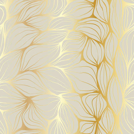 Doodle ondulations abstraits d'or et beige. Seamless pattern.
