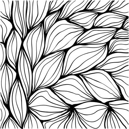 inky: Doodle black inky abstract ripples. Seamless pattern.