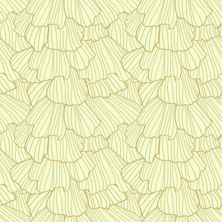 frill: Doodle abstract yellow frills in art deco style. Seamless pattern.