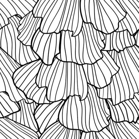 frill: Doodle abstract black frills in art deco style. Seamless pattern. Illustration