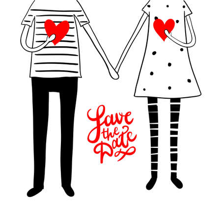 bride and groom illustration: Cute doodle couple with hearts and hand lettering save the date